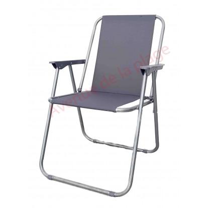Chaise de plage pliante grise