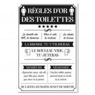 Toile humoristique Règles d'or des Toilettes