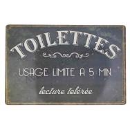 Plaque vintage Toilettes lecture tolérée
