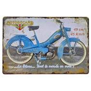 Plaque vintage Mobylette Motobécane bleue