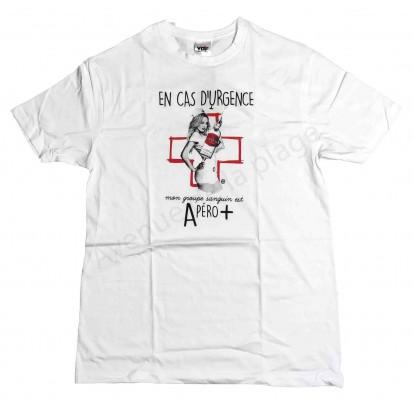 """T-shirt humoristique infirmière """"Urgence Apéro +"""""""