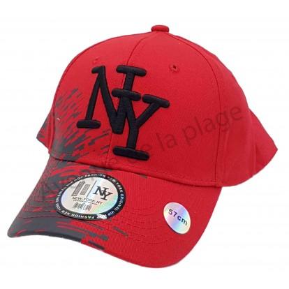Casquette NY bicolore peinture rouge et grise