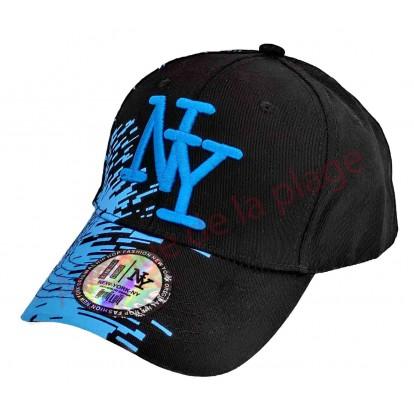 Casquette NY bicolore noire et peinture turquoise