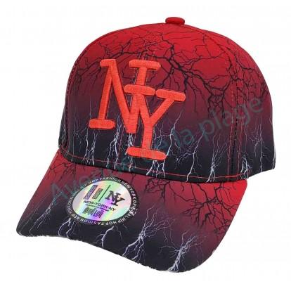 Casquette NY orage bicolore noir/rouge