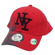 Casquette NY enfant bicolore peinture noire et rouge