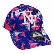 Casquette enfant NY palmiers rose/bleu