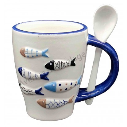 Mug avec cuillère Poissons design en relief