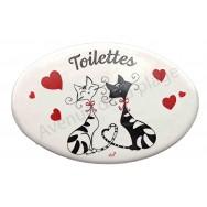 Plaque de porte C'est Chat l'Amour Toilettes