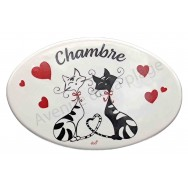 Plaque de porte C'est Chat l'Amour Chambre