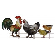 Famille poule en métal à accrocher