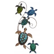 Décoration murale tortues de mer en métal 70 cm
