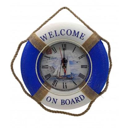 Pendule bouée de sauvetage Welcome on board voilier