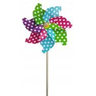 Moulin à vent éolienne multicolore à pois 21 cm