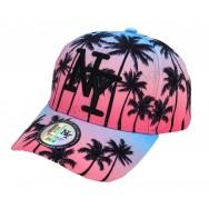 Casquette enfant NY palmiers bicolore rose et turquoise