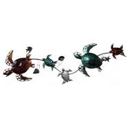 Décoration murale tortues de mer en métal 110 cm