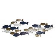 Ban de poissons dorés et bleue à accrocher 126 cm