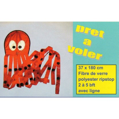Cerf-volant pieuvre rouge 180 cm
