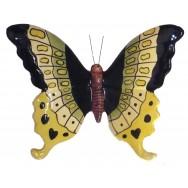 Papillon céramique 17 cm noir, jaune, vert
