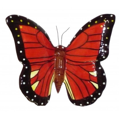 Papillon céramique 17 cm rouge et noir