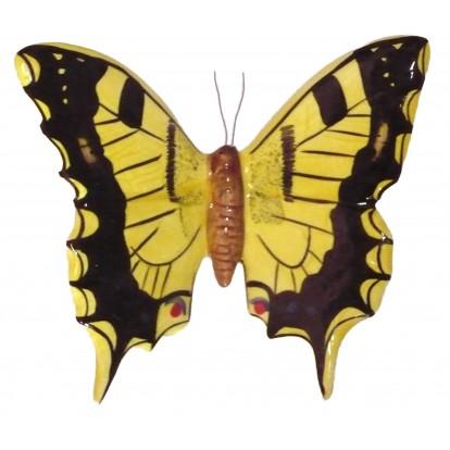 Papillon céramique 17 cm jaune et noir