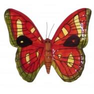 Papillon céramique 23 cm rouge, jaune et vert