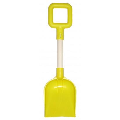 Pelle de plage en plastique 36 cm manche bois jaune.