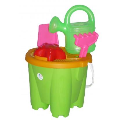 Seau château + accessoires (2 coloris) 22 cm vert.