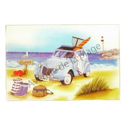 Dessous de plat en verre 20 x 30 cm : 2 CV à la plage