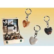 Porte clefs coeur en pierre anti stress - porte clé pas cher.