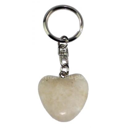 Porte clefs coeur en pierre anti stress blanc.