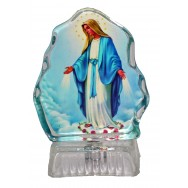 Statue Sainte Vierge Miraculeuse lumineuse, objet religieux.