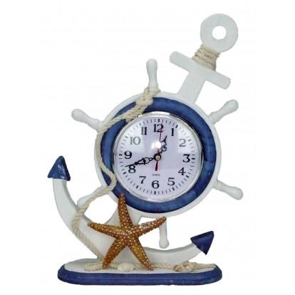 Horloge en bois ancre et roue avec étoile de mer - Déco bord de mer.