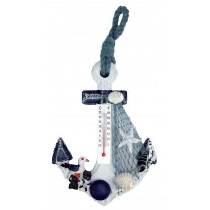 Thermomètre ancre 15 cm modèle B - Décoration bord de mer.