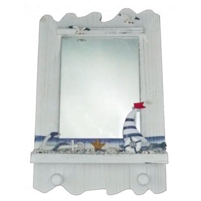 Miroir style marin avec un voilier, décoration marine pas cher.