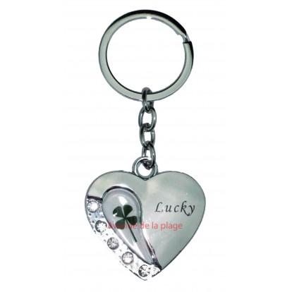 """Porte clefs coeur trèfle à 4 feuilles avec strass """"Lucky"""" pas cher."""