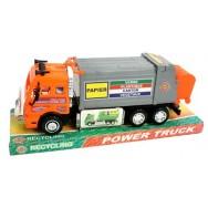Camion poubelle de recyclage des déchets à friction, taille 28 cm, jouet.