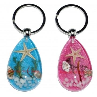 Porte clefs avec véritable étoile de mer - idée cadeau pas cher.