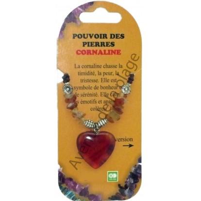 """Pendentif, collier Coeur """"Pouvoir des pierres"""", la cornaline."""