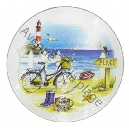 Dessous de plat rond en verre : A la plage en vélo.