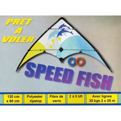 Cerf volant acrobatique Speed Fish 120 cm, toile de spy et armature fibre de verre. Prêt à voler.