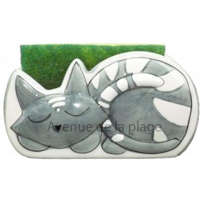 """Porte éponge en céramique """"Chacha"""" décor petit chat gris."""