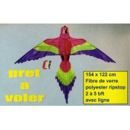 Cerf-volant Perroquet 154 x 122 cm en toile de spy et fibre de verre. Idéal pour les débutants.