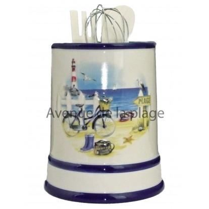 Pot à ustensiles de cuisine : la plage en vélo.