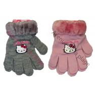 Gants Hello Kitty fausse fourrure gris et rose.