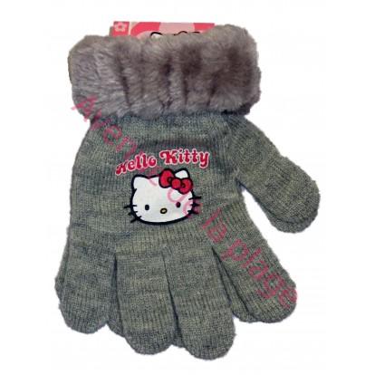 Gants Hello Kitty fausse fourrure gris.