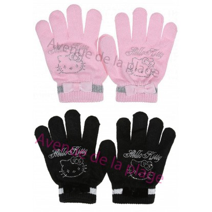 Gants Hello Kitty noeud papillon et strass
