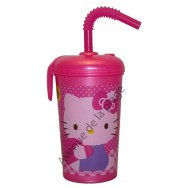 Verre avec paille Hello Kitty + prénom