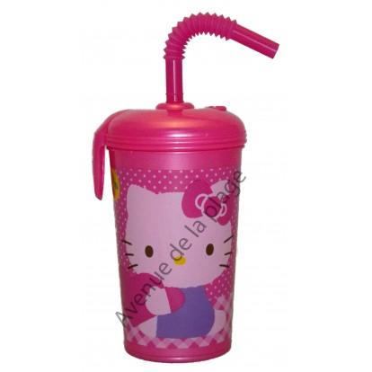 Verre avec paille Hello Kitty avec prénom.