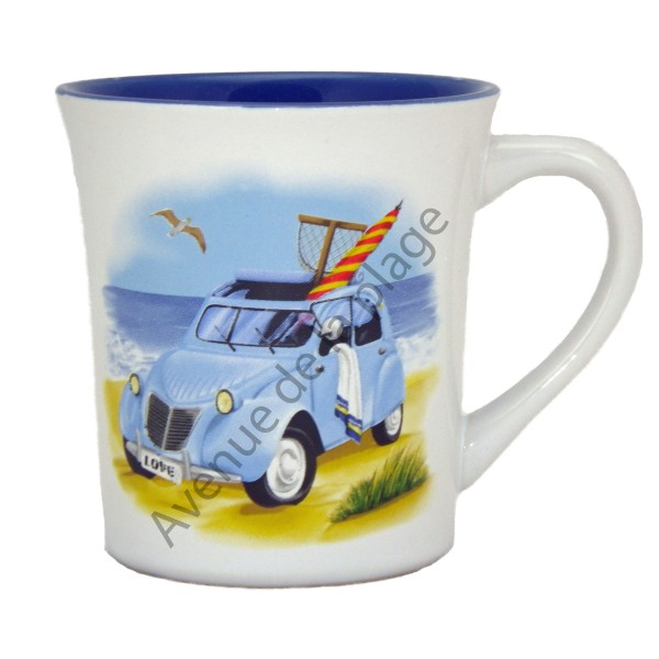 mug 2cv sur la plage tasse en c ramique style marin. Black Bedroom Furniture Sets. Home Design Ideas