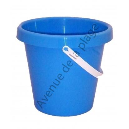 Seau de plage 22 cm bleu, fabriqué en France.